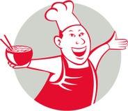 Bande dessinée asiatique de cercle de danse de Serving Noodle Bowl de chef Photos stock