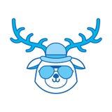 Bande dessinée bleue mignonne de visage de cerfs communs de vintage d'icône illustration de vecteur