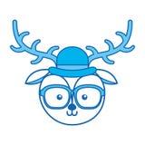 Bande dessinée bleue mignonne de visage de cerfs communs de vintage d'icône Image libre de droits