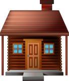 Bande dessinée brune mignonne de maison sur le fond blanc Image stock