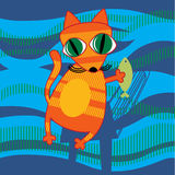 Bande dessinée Cat Holding Fish Photos libres de droits