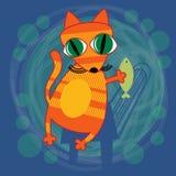 Bande dessinée Cat Holding Fish Photographie stock libre de droits
