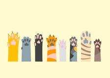 Bande dessinée Cat Paw Set différente Vecteur Illustration Stock