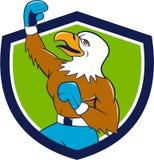 Bande dessinée chauve d'Eagle Boxer Pumping Fist Crest illustration stock