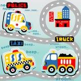 Bande dessinée colorée de véhicules images stock