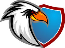 Bande dessinée courante de chef d'aigle de logo avec le bouclier Images libres de droits