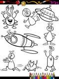 Bande dessinée d'étrangers réglée pour livre de coloriage Image libre de droits