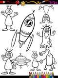 Bande dessinée d'étrangers réglée pour livre de coloriage Photographie stock