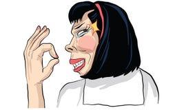 Bande dessinée d'acte de femme, ligne vecteur d'autocollant illustration stock