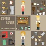 Bande dessinée d'amant de café et conception d'icône Image stock