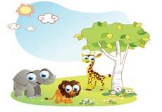 Bande dessinée d'animaux avec le fond de jardin Photo libre de droits