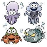 Bande dessinée d'animaux de mer Image libre de droits