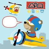 Bande dessinée d'animaux sur le métier d'air photos libres de droits