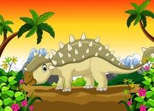 Bande dessinée d'Ankylosaurus avec le fond de paysage Illustration de Vecteur