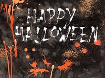 Bande dessinée d'aquarelle de carte d'illustration de Halloween avec différentes actions illustration libre de droits