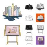 Bande dessinée d'architecture et de construction, noir, plat, monochrome, icônes d'ensemble dans la collection d'ensemble pour la Images libres de droits