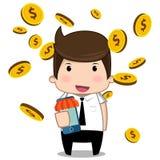 Bande dessinée d'argent d'homme d'affaires Images libres de droits