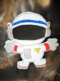 Bande dessinée d'article de vaisseau spatial dans le conseil d'étudiant photographie stock libre de droits