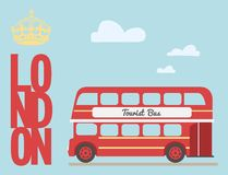 Bande dessinée d'autobus à impériale du rouge de touristes britannique de Londres de symbole de l'Angleterre, mot illustration de vecteur