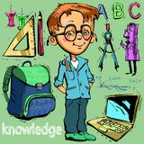 Bande dessinée d'enfant d'illustration de garçon d'écolier illustration libre de droits