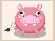 Bande dessinée d'hippopotame Caractères drôles de dessin animé et d'animal de vecteur Photos stock