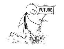 Bande dessinée d'homme d'affaires Digging un trou pour l'usine avec le futur signe Photos stock