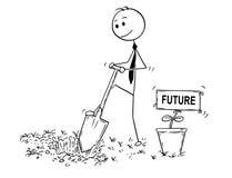 Bande dessinée d'homme d'affaires Digging un trou pour l'usine avec le futur signe Photo libre de droits