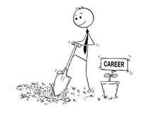 Bande dessinée d'homme d'affaires Digging un trou pour l'usine avec le signe de carrière Photos stock