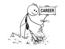 Bande dessinée d'homme d'affaires Digging un trou pour l'usine avec le signe de carrière Photographie stock libre de droits