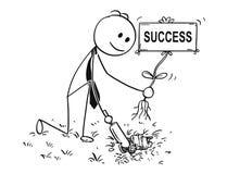 Bande dessinée d'homme d'affaires Digging un trou pour l'usine avec le signe de succès Images stock