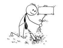 Bande dessinée d'homme d'affaires Digging un trou pour l'usine avec le signe vide Photos libres de droits
