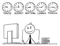 Bande dessinée d'homme d'affaires Working dans le bureau avec autour du horodateur du monde derrière illustration de vecteur