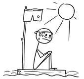 Bande dessinée d'homme de bâton de vecteur de la séance de l'homme perdue sur le morceau d'épave illustration de vecteur