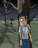 Bande dessinée d'homme effrayé dans la dissimulation en bois illustration de vecteur