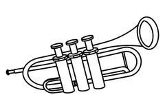 Bande dessin?e d'ic?ne de trompette noire et blanche illustration de vecteur