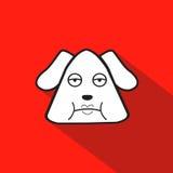 Bande dessinée d'icône de chien sur le fond rouge Illustration Libre de Droits