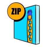 Bande dessinée d'icône de fichier zip Image stock