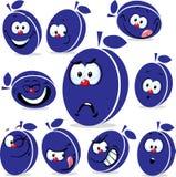 Bande dessinée d'icône de prune avec les visages drôles Photographie stock