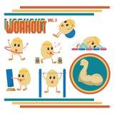 Bande dessinée d'oeufs dans des activités de séance d'entraînement Image stock