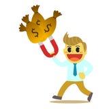 Bande dessinée d'Officeman et aimant de l'argent 1 Image stock