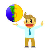 Bande dessinée d'Officeman et globe d'argent Image libre de droits