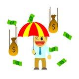 Bande dessinée d'Officeman et pluie d'argent Image stock