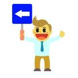 Bande dessinée d'Officeman et signe de manière Photo stock