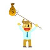 Bande dessinée d'Officeman et trident d'argent Image stock
