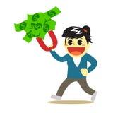 Bande dessinée d'Officewomen et aimant d'argent Photographie stock libre de droits