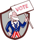 Bande dessinée d'oncle Sam American Placard Vote Crest Illustration Libre de Droits