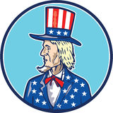 Bande dessinée d'oncle Sam Top Hat American Flag Images stock