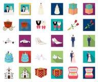 Bande dessinée de épouser et d'attributs, icônes plates dans la collection d'ensemble pour la conception Actions de symbole de ve illustration de vecteur
