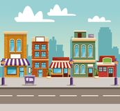 Bande dessinée de bâtiments de ville illustration stock