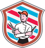 Bande dessinée de Barber Holding Scissors Comb Shield Photos stock